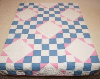 Pink, Blue and White Feed Sack Village Square Vintage Quilt Piece - 34 x 25 Inches
