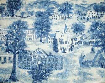 "Very Rare Blue Grandma Moses ""Williamstown Toile"" Unused Vintage Barkcloth Fabric - 46 by 16.5 Inches"