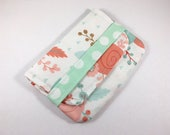 Sanitary Pad Holder Tampon Case Birth Control Case Mint Coral Floral