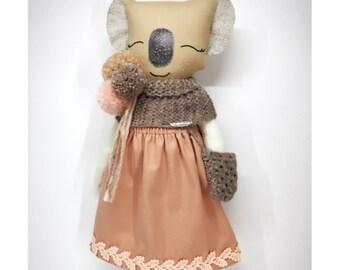 Koala Doll - Fabric doll - Original Handmade Dolls - Unique Doll - Gift for Girls - Birthday Gift for Girls - Lovely Dolls - Koala - Dolls