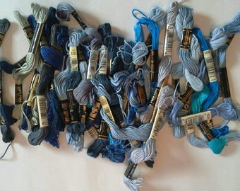 Shades of Blue Embroidery Thread Lot of 36 Full and Partial Skeins ET0105 Embroidery Floss