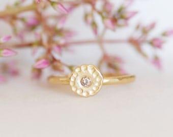 Diamond Wildflower Ring - Choose Diamond Color Center - Gold Wildflower Ring - Choose 14k OR 18k