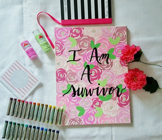 I am a survivor | breast cancer awareness | wall art | wall sign | office decor | gift | mom gift | floral art