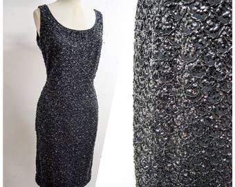 1950s Black beaded knit wiggle dress / 50s 60s sequinned cocktail dress - S M