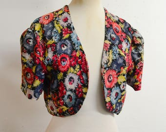 1930s Red floral print crepe & silk satin bolero / 30s floral cropped short evening jacket - S M