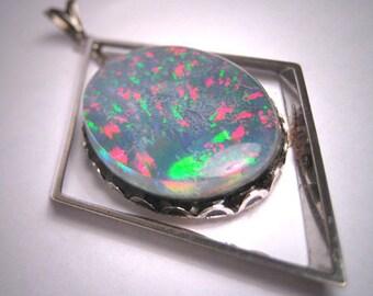Vintage Large Australian Opal Pendant Modernist Style 1950