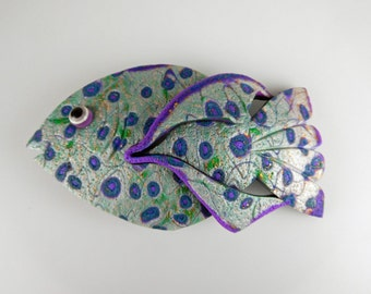 Psychedelic Fish 3D Barrette in Blue, Purple, Green and Pearl Polymer Clay