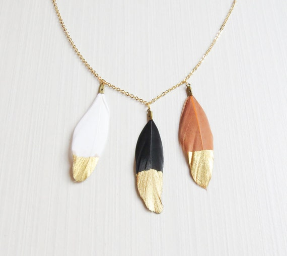 Dipped Gold Feather | Black Feather Necklace | White Feather Necklace | Gold Dipped Feathers | 3 Dipped Gold Feather Necklace |