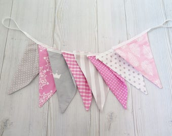 Pink and gray banner , fabric banner , fabric garland