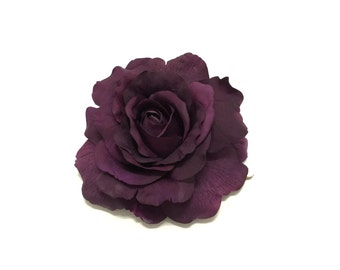 Fully Bloomed DEEP PURPLE Artificial Rose - 5 Inches - Artificial Flower, Silk Flower, Millinery, Flower Crown, Wedding, Hair Accessories