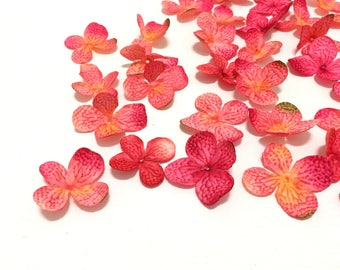 40 Artificial Hydrangea Blossoms in Fuchsia Pink Yellow - Artificial Flowers, Scrapbooking, Millinery, Silk Flowers, Hair Accessories, Hat