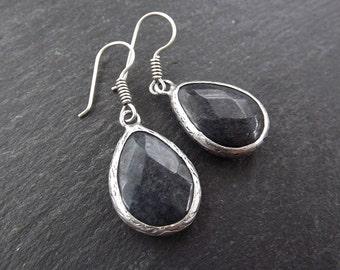Smoky Teardrop Gemstone Silver Ethnic Earrings - Authentic Turkish Style
