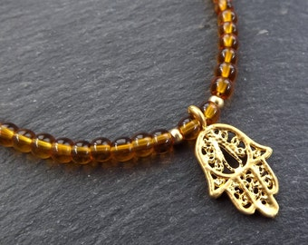 Hamsa Hand of Fatima Layer Necklace Amber Quartz Stone Gemstone Hippie Bohemian Artisan