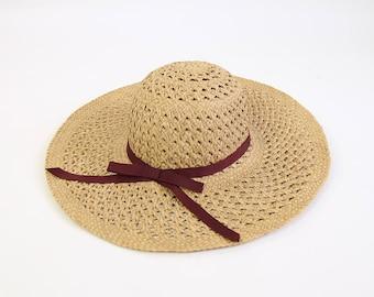 VINTAGE Straw Hat Wide Brim Sun Hat