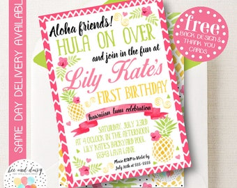 Pineapple Invitation, Pineapple Birthday Invitation, Pineapple Birthday Party, Pineapple Party Invitation, Luau Party, BeeAndDaisy