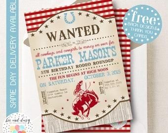 Cowboy Invitation, Cowboy Birthday Invitation, Cowboy Birthday Party, Cowboy Party Invitation, Cowboy Horse Invitation, BeeAndDaisy (KB13)