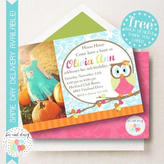 Owl Birthday Invitation Woodland Owl Invitation Woodland Owl Party