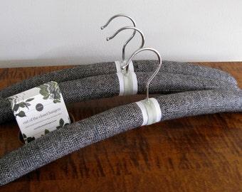 Men's Hangers, Padded Hangers, Men's Handmade Hangers, Men's Clothing Hangers, Herringbone Hangers for Men, Black Wool Hanger Set of 3
