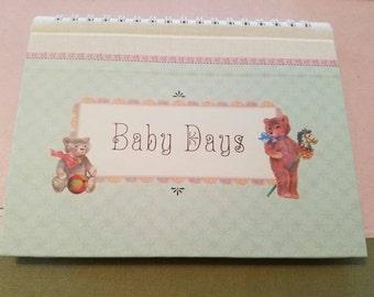 Vintage Original Box Baby Days Photo Album Brag Book Gender Neutral Teddy Bears