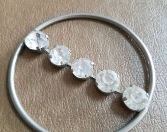 Vintage Silver Tone Metal and Clear Rhinestone Pony Tail Bun Holder Scarf Accessory