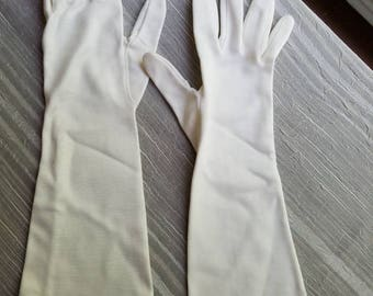 Vintage Hansen White Gloves Ladies Retro 1960s Size 7 Alligator Embossing As Is