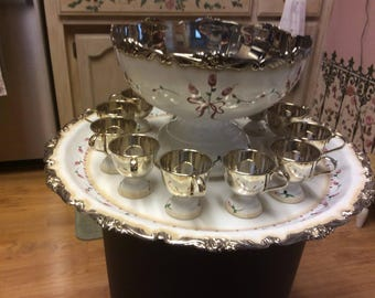 Silver plated vintage punch bowl  set/custom painted