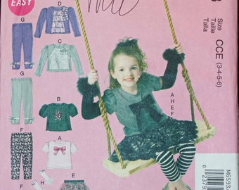 Girls Toddler Kids Size 3 4 5 6 McCalls M6593 Wardrobe Tops SHirt Blouse Skirt Leggings Pants Arm Warmers   Child Sewing Pattern Sew Uncut