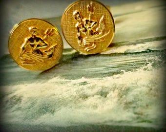 Golden Poseidon Cuff Links