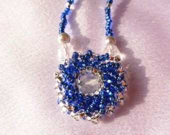 Beaded Blue and Silver Flower Necklace