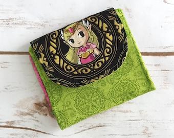 Mini Slimline Wallet - Zelda - Pink and Green and Gold - Legend of Zelda - Link