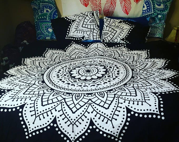 Black and White Mandala Twin Queen or King Size Duvet Cover with Matching Pillow Cases Hippie Boho Bedding College Bedding Gypsy Bedding