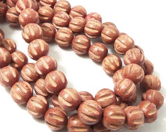 Rosewood Bead, 12mm, Round, Carved, Grooved, Melon Cut, Natural Wood Beads, Large, 16 Inch Strand - ID 2293