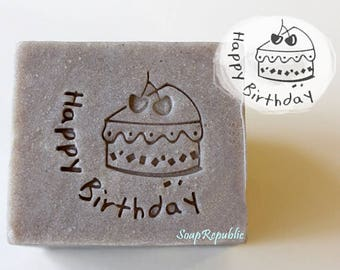 FREE SHIPPING! SoapRepublic Happy Birthday with Cake Acrylic Soap Stamps / Cookie Stamp / Clay Stamp