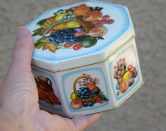 Vintage tin box storage container fruits England cookie jar tin canister harvest Fall decor Autumn packaging idea organizer gift for her