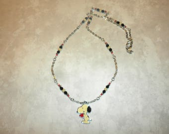 Snoopy With Heart Necklace and Chain
