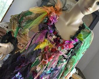 Wonderful Unique Art To Wear Colorful Forest Leopard Green Schiffon Dress  HAPPY GIRL Hippie Tribal Fairy Mori Girl Boho Tattered