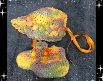 Baby Gift Crocheted Baby Bonnet and Booties Rainbow colors Newborn Photo Prop