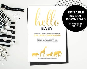 Instant Download: Safari Animal Baby Shower Invitation - Edit + Print Yourself - Editable Photoshop PSD File - Gold, Black, White