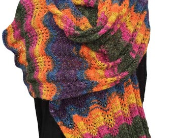 Shawl/Wide Scarf Knitting Kit - Colour Jewel