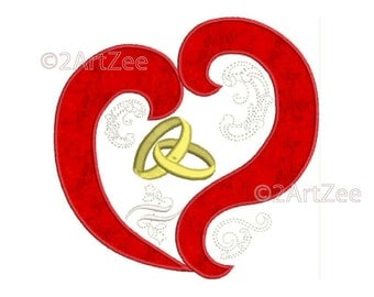 Heart and Wedding Rings Applique and Machine Embroidery Design Bride Groom Love Engagement