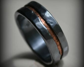 mens wedding band - rustic fine silver and copper ring - handmade oxidized artisan designed wedding or engagement band - customized