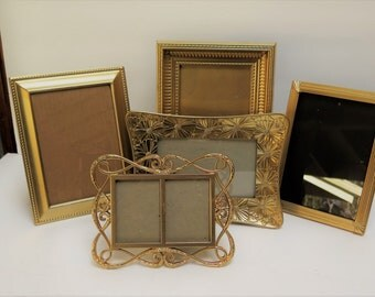 5 Gold Picture Frames Easel backs to stand on table top
