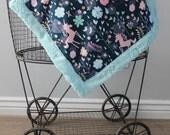 Baby blanket,Ships Today-Lovey, Lovey blanket, 18 x 18, Minky blanket