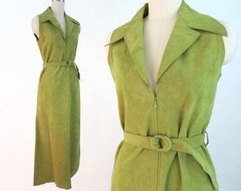 MOLLIE PARNIS Green Ultrasuede 1970s Dress / Vintage Designer Maxi Dress