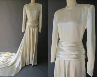 1940s Satin Trained Wedding Gown / Size Small Vintage Wedding Dress