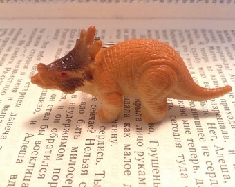 Lil'  Orange Styracosaurs Dinosaur Brooch Pin