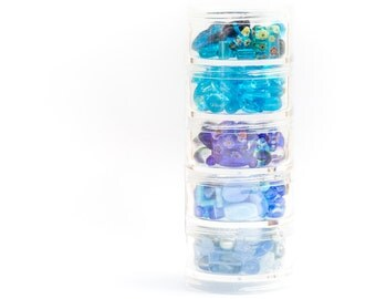 DIY Mixed Bead Kit, Beading Storage, Embellishments, Czech Glass, Lampwork & Millefiori, Shades of Blue, 78g