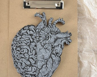 grey, Felt brain and heart in one for decoration