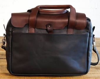 GENTLY USED - The Luxury Briefcase - Chestnut on Galloper Black (see photos)