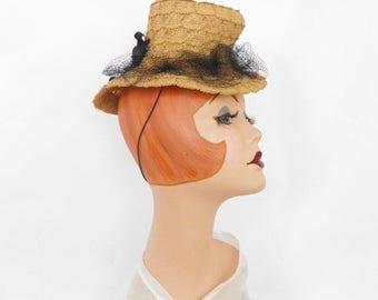 Vintage toy tilt hat, 1930s 1940s straw Steampunk, NY Creation